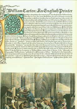 "William Caxton: An English Printer. Includes color print of engraving after F. Bacon from the original painting, ""William Caxton examining the first proof sheet from his printing press in Westminster Abbey."""