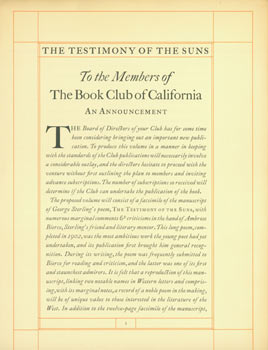 The Testimony of the Suns. To the members of The Book Club of California. Facsimile manuscript...