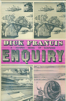Enquiry. Dust Jacket for First US Edition, price ($4.95) on flap inside cover. Dick Francis, Paul Spina, jacket design.
