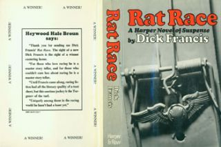 Rat Race. Dust Jacket for First US Edition, price ($5.95) on flap inside cover. Dick Francis, Jay J. Smith, jacket design.