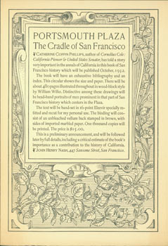 Prospectus for Portsmouth plaza, the cradle of San Francisco. (This is the Prospectus for a book,...