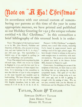 "Note On ""A Ha! Christmas"": this book of Christmas is a sound and good perswasion for gentlemen,..."
