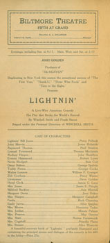 Lightnin', A Live Wire American Comedy, by Winchell Smith and Frank Bacon. Biltmore Theatre, A....