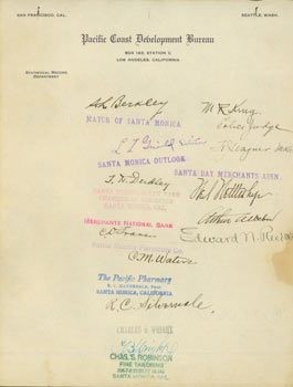 Autographs from noteworthy Californians on Pacific Coast Development Bureau letterhead. RE:...