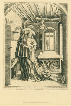 The Embrace (De Omhelzing). 19th Century Heliogravure after 1503 Monogrammist MZ, after Leonardo...