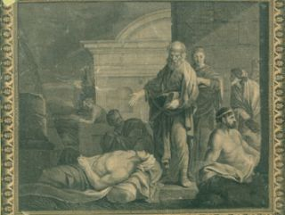 Old Testament Subject. Engraving after a portrait. After 17th Century European Mannerist Oil...