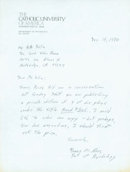 LS Bruce M. Ross to Herb Yellin, December 19, 1980. Bruce M. Ross, Department of Psychology...