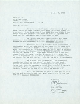 TLS A. V. Krebs to Herb Yellin, October 5, 1985. RE: Bill Everson. A. V. Krebs