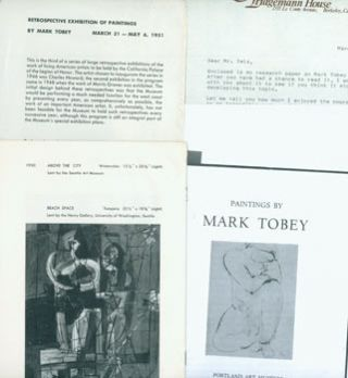 Dossier related to artist Mark Tobey from Peter Selz Files, including: Retrospective Exhibition...