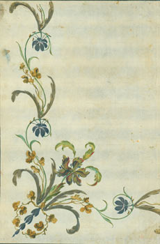 Original Watercolor, Floral Border. 18th Century Watercolorist, Hon. Gerald Henry Brabazon...