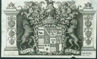 "Coat of Arms with Motto ""Love Serve"". Gribelin Engraving from Characteristics Of Men, Manners,..."