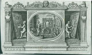 Triptych Depicting Musicians & Dancers in Center Panel, Painters on Outer Panels. Gribelin...