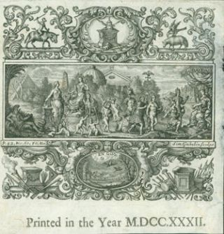 Printed in the Year MDCCXXXII. Classical Scene. Simon Gribelin, engrav
