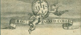 "Coat Of Arms For The Royal Savoy College, Carried by Two Flying Cherubs, With The Motto ""Reg..."