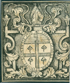 "Roman Catholic Coat of Arms with Motto reading ""Sigil Caroli Carr Episcopi Laonensis 1716."" 18th..."