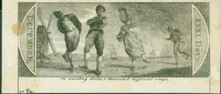 "Image of Skaters, Emblem with ""Memorandum"" on it on verso. 18th Century British Engraver"