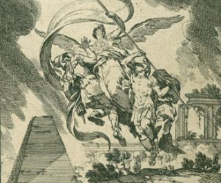 Angel Bearing Banner. 18th Century Italian Engraver?
