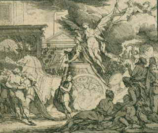 Angel Bearing Spear Behind Chariot. 18th Century Italian Engraver?