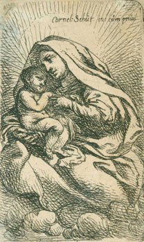 Virgin & Child sitting on clouds, turned to left, the Virgin with a large headgear. Flemish...