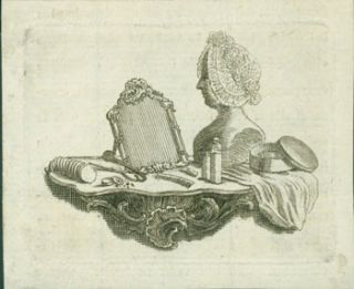 Mirror, Comb, Mannequin and other items on a mantle. 18th Century French Engraver