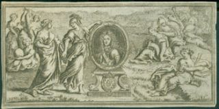 Engraving Of Ladies Around Portrait of a Nobleman. 17th Century French Engraver