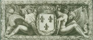Engraving of French Coat Of Arms. 17th Century French Engraver