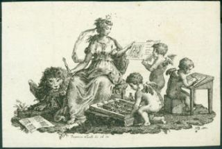 Putti Printing, With Goddess Artemis and Lion Present. Francesco Novelli, 1764 - 1836