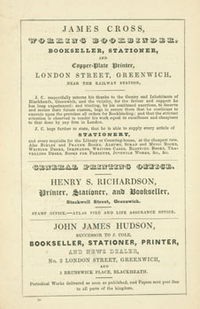 Advert for J. W. Beaver's Public Library and Reading Room. J. W. Beaver, UK Greenwich