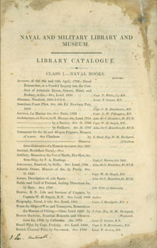 Library Catalogue. Naval, Military Library, Museum, London