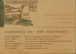 Souvenir Programme for The Drunkard. With endorsement comments on verso from WC Fields, Mary...