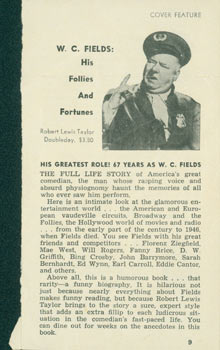 WC Fields: His Follies And Fortunes. Review of Robert Lewis Taylor's biography. Robert Lewis Taylor