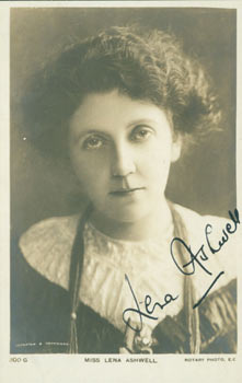 Post Card Signed by Miss Lena Ashwell, sent to Mr. L. P. Schlarb, Kennington Park London. Miss...