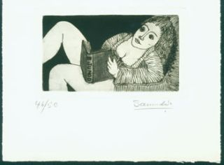 Ex Libris Benoit Junod. Woodcut signed by artist, numbered 46 of 50. Saunders?