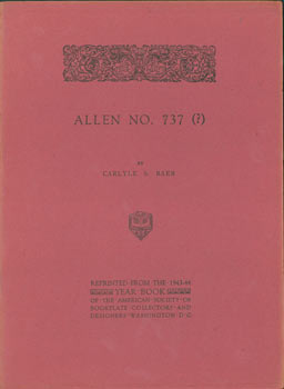 Allen No. 737 (?). Carlyle S. Baer, American Society of Bookplate Collectors And Designers