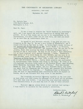 TLS Robert F. Metzdorf to Carlyle Baer, September 26, 1947. Carlyle S. Baer, Robert F. Metzdorf