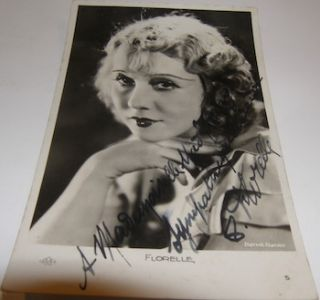 Post Card signed by French film star Florelle. Pathe-Natan, Florelle