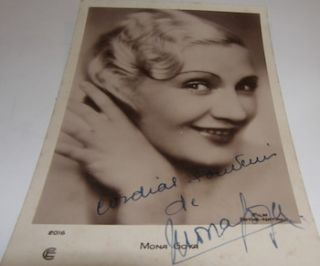 Post Card autographed by French Actor Mona Goya. Film Pathe-Natan, Mona Goya, Paris