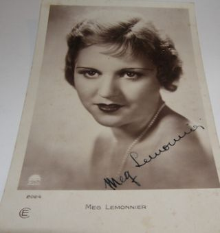 Post card autographed by Meg Lemonnier. Films Paramount, Meg Lemonnier, Paris