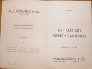Exhibition Of 20th Century French Paintings November 3 to 29, 1958. Paul Rosenberg & Co. (NY). 15...