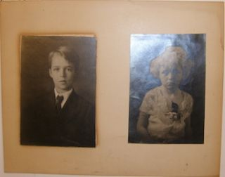 Two Black and White Portraits of Children. Early 20th Century American Photographer