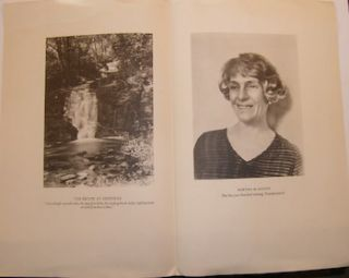 Brook At Deepdene, Photo of Bertha M. Goudy, and a page from Frankenstein, typeset by Bertha Goudy.