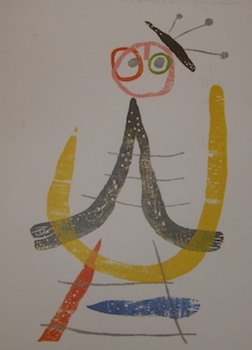 "Card with a print of Joan Miro's ""Illustration From Eluard's A Toute Epreuve, 1958"" with ALS..."