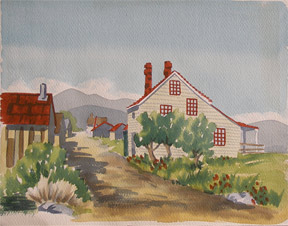 Country road with houses. California Watercolor Artist