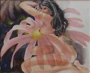 Nude woman as a flower. Dorf