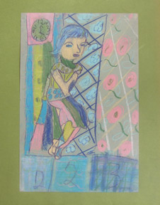 Woman beside a wall clock in the style of the Bay Area Figurative School. Protégé...