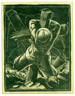 WWI Soldier Crucified at the Trenches. Etcher, after Kent