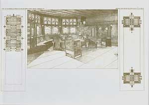 Living-room in the residence of Harley Bradley, Kankahee, Illinois, 1900. Pl. XXII. Frank Lloyd...
