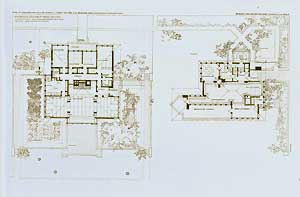 Ground plan of E. H. Cheney house and a ground plan for a one-story house for an artist, 1904. ...