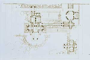 Ground plan of the D. D. Martin house, Buffalo, New York, 1904. Pl. XXXII. Frank Lloyd Wright