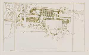 Perspective view of Thomas P. Hardy house, Racine, Wisconsin, 1905. Pl. XV. Frank Lloyd Wright